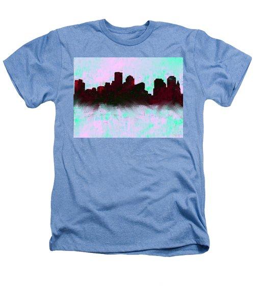 Boston Skyline Sky Blue  Heathers T-Shirt by Enki Art