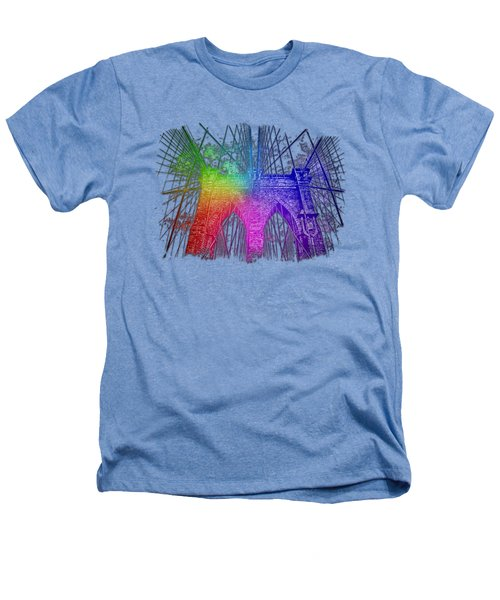 Brooklyn Bridge Cool Rainbow 3 Dimensional Heathers T-Shirt by Di Designs