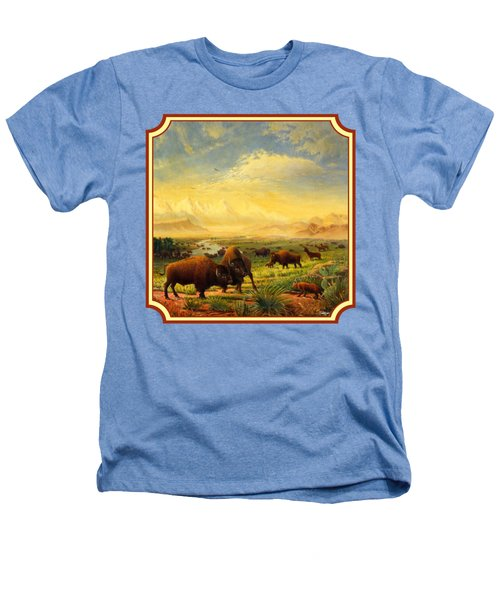 Buffalo Fox Great Plains Western Landscape Oil Painting - Bison - Americana - Square Format Heathers T-Shirt