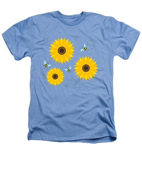 Busy Bees And Sunflowers - Large Heathers T-Shirt by SharaLee Art