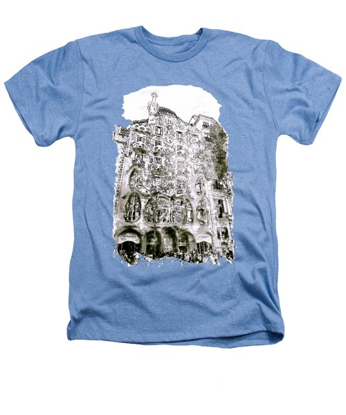 Casa Batllo Barcelona Black And White Heathers T-Shirt by Marian Voicu