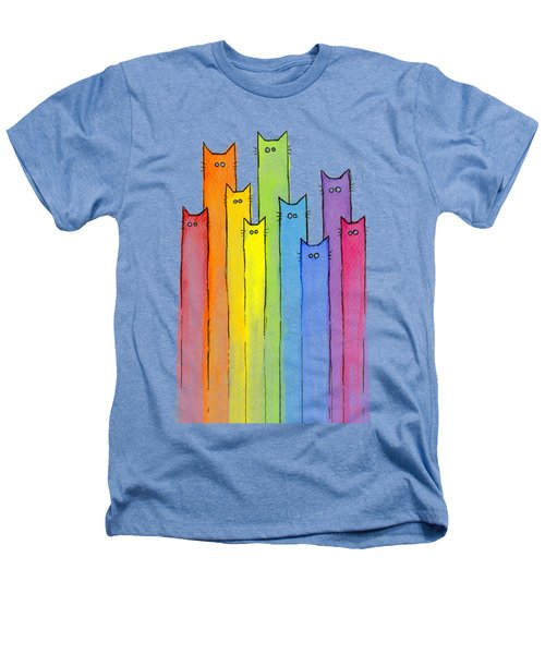 Cat Rainbow Watercolor Pattern Heathers T-Shirt