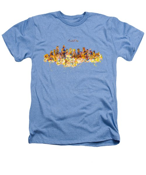 Charlotte Watercolor Skyline Heathers T-Shirt by Marian Voicu
