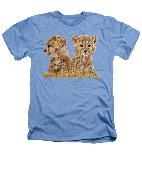 Cheetah Cubs Heathers T-Shirt by Angeles M Pomata