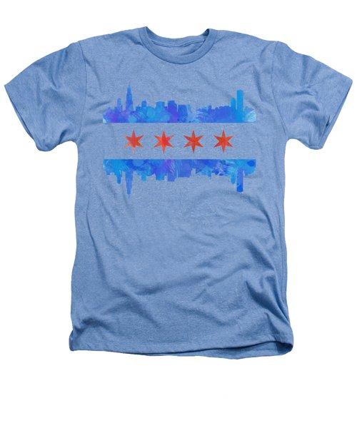 Chicago Flag Watercolor Heathers T-Shirt by Mike Maher