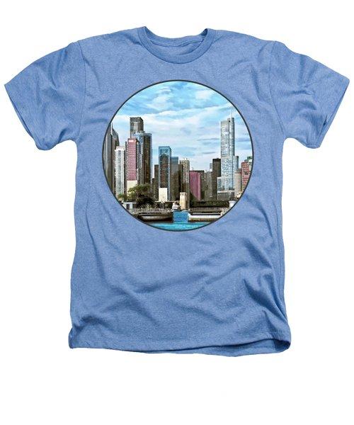 Chicago Il - Chicago Harbor Lock Heathers T-Shirt by Susan Savad