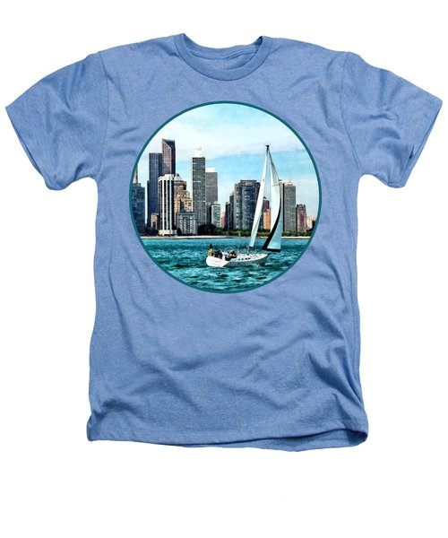 Chicago Il - Sailboat Against Chicago Skyline Heathers T-Shirt by Susan Savad