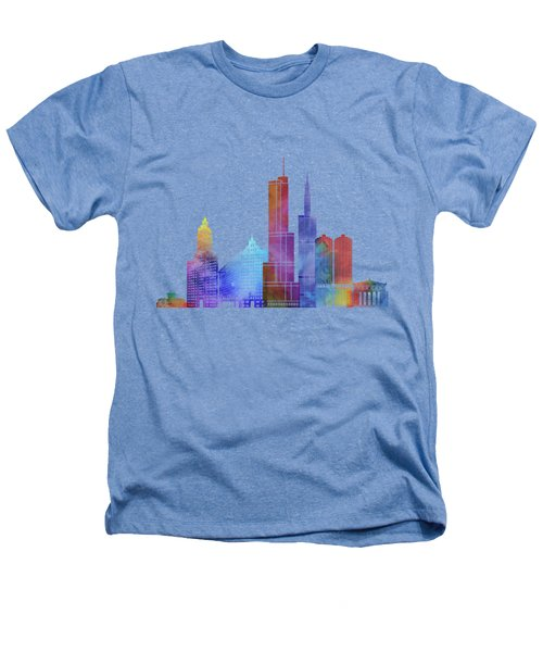 Chicago Landmarks Watercolor Poster Heathers T-Shirt