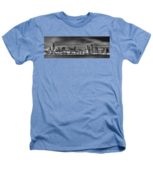 Chicago Skyline At Night Black And White Heathers T-Shirt
