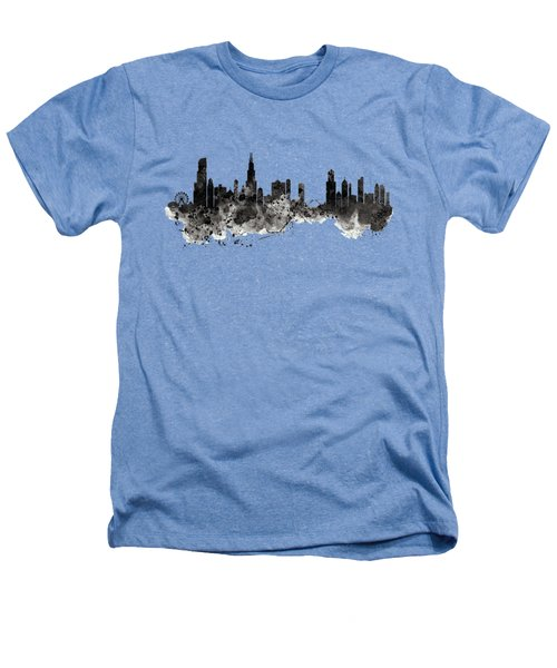 Chicago Skyline Black And White Heathers T-Shirt by Marian Voicu