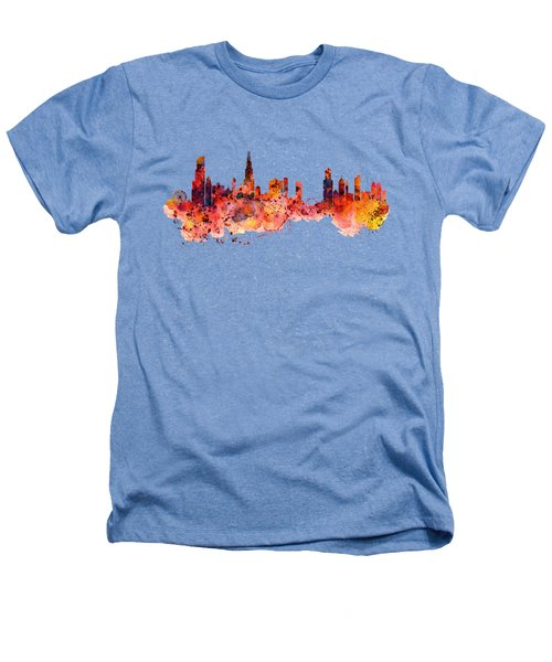 Chicago Watercolor Skyline Heathers T-Shirt by Marian Voicu
