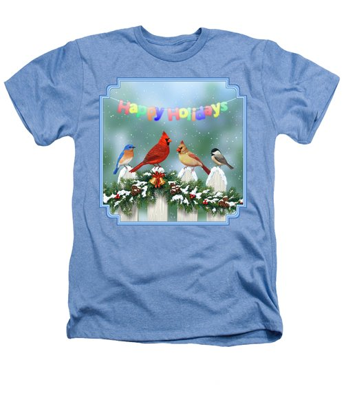 Christmas Birds And Garland Heathers T-Shirt by Crista Forest