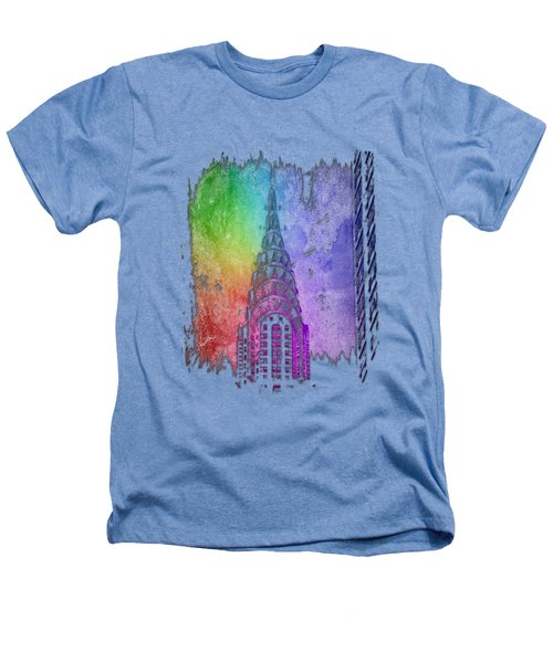 Chrysler Spire Cool Rainbow 3 Dimensional Heathers T-Shirt by Di Designs