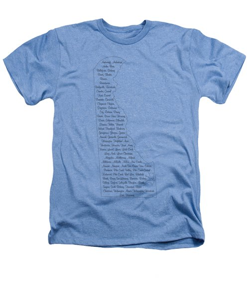 Cities And Towns In Delaware Black Heathers T-Shirt by Custom Home Fashions