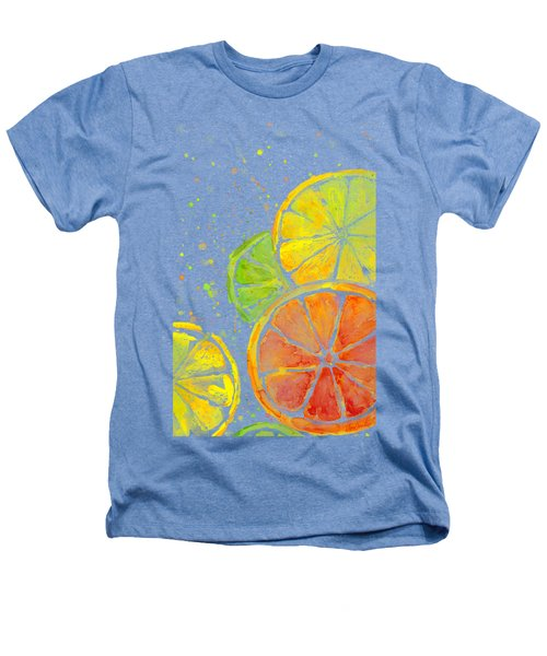 Citrus Fruit Watercolor Heathers T-Shirt by Olga Shvartsur