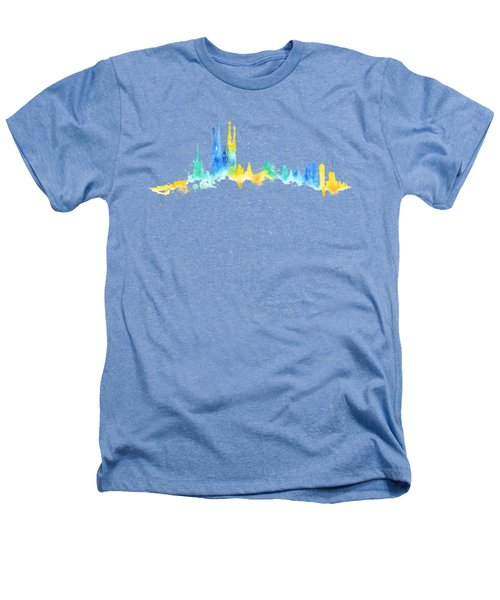 Color Barcelona Skyline 02 Heathers T-Shirt by Aloke Creative Store