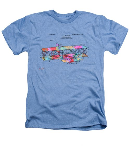 Colorful 1906 Wright Brothers Flying Machine Patent Heathers T-Shirt