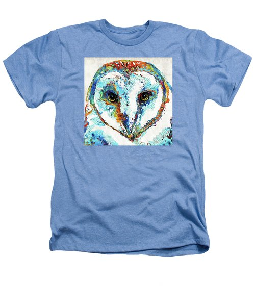 Colorful Barn Owl Art - Sharon Cummings Heathers T-Shirt by Sharon Cummings
