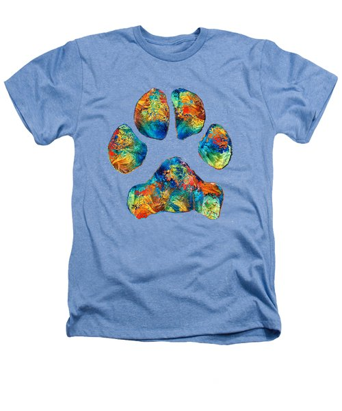 Colorful Dog Paw Print By Sharon Cummings Heathers T-Shirt