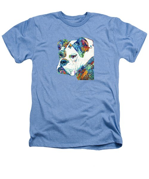 Colorful English Bulldog Art By Sharon Cummings Heathers T-Shirt by Sharon Cummings