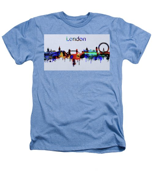 Colorful London Skyline Silhouette Heathers T-Shirt by Dan Sproul