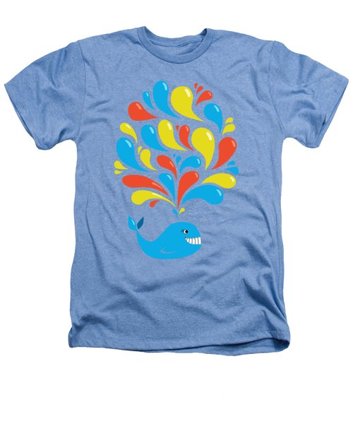 Colorful Swirls Happy Cartoon Whale Heathers T-Shirt
