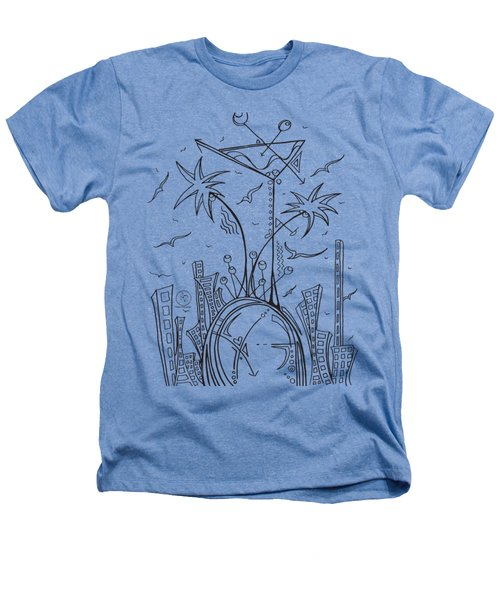 Coloring Page With Beautiful City Martini Drawing By Megan Duncanson Heathers T-Shirt by Megan Duncanson