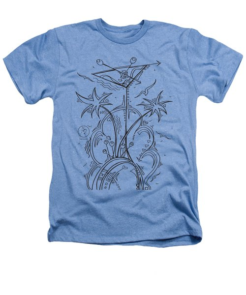 Coloring Page With Beautiful Tropical Martini Drawing By Megan Duncanson Heathers T-Shirt by Megan Duncanson