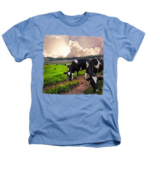 Cows At Sunset Bordered Heathers T-Shirt by Debra and Dave Vanderlaan