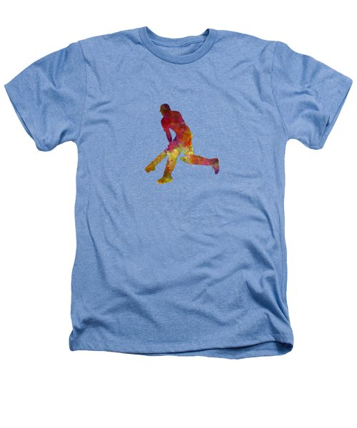 Cricket Player Batsman Silhouette 03 Heathers T-Shirt by Pablo Romero