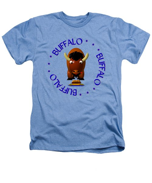 Cute Buffalo With Beef On Weck And Buffalo Wings Heathers T-Shirt by Rose Santuci-Sofranko