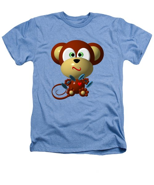 Cute Monkey Lifting Weights Heathers T-Shirt by Rose Santuci-Sofranko
