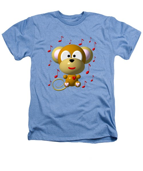 Cute Musical Monkey Heathers T-Shirt by Rose Santuci-Sofranko