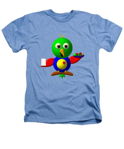 Cute Parrot With Healthy Salad And Milk Heathers T-Shirt by Rose Santuci-Sofranko
