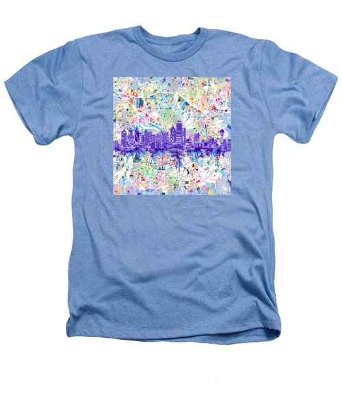 Dallas Skyline Map White 3 Heathers T-Shirt