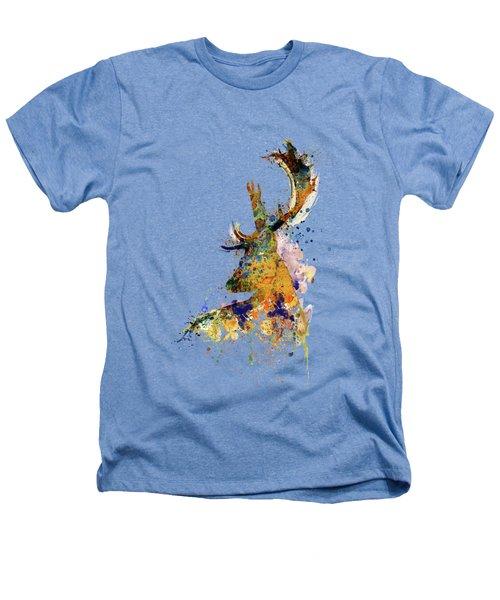Deer Head Watercolor Silhouette Heathers T-Shirt