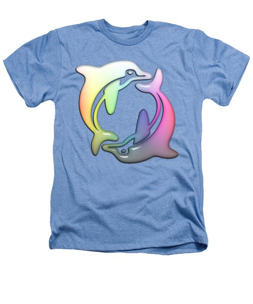 Dolphin Dance Soft Rainbow Drops Heathers T-Shirt by Di Designs
