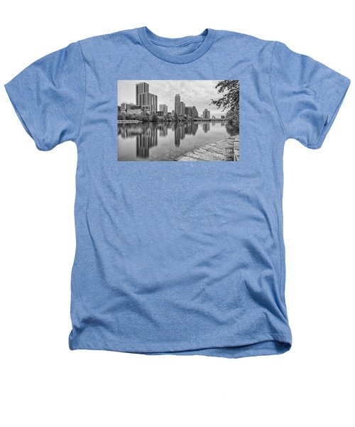 Downtown Austin In Black And White Across Lady Bird Lake - Colorado River Texas Hill Country Heathers T-Shirt by Silvio Ligutti