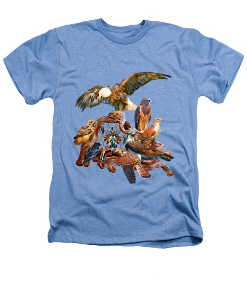 Dream Catcher - Spirit Birds Heathers T-Shirt by Carol Cavalaris