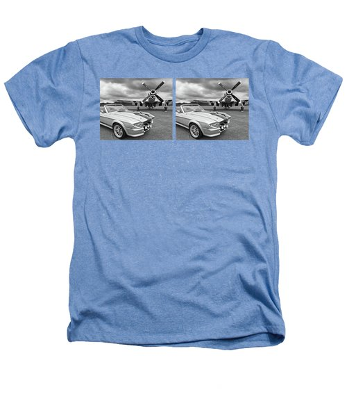 Eleanor Mustang With P51 Black And White Heathers T-Shirt by Gill Billington