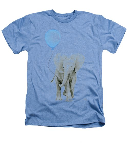 Elephant Watercolor Blue Nursery Art Heathers T-Shirt