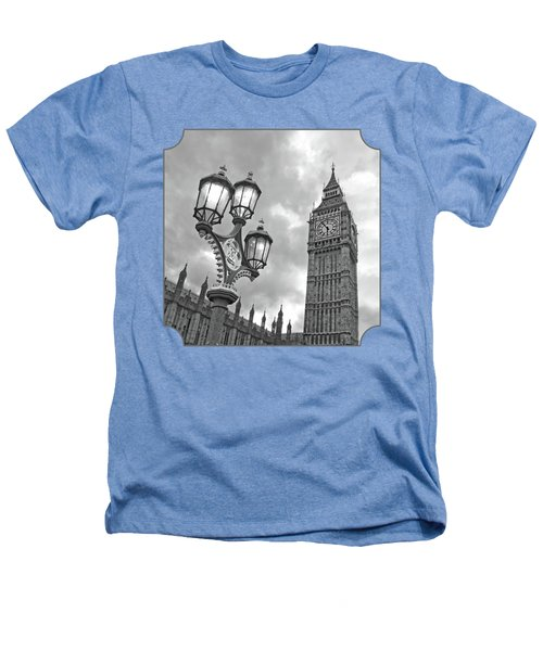 Evening Light At Big Ben In Black And White Heathers T-Shirt by Gill Billington