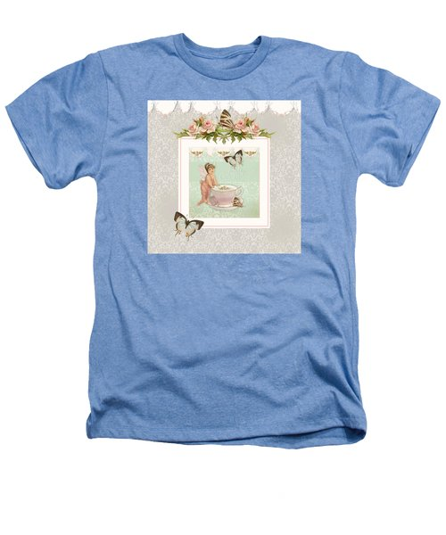 Fairy Teacups - Flutterbye Butterflies And English Rose Damask Heathers T-Shirt by Audrey Jeanne Roberts