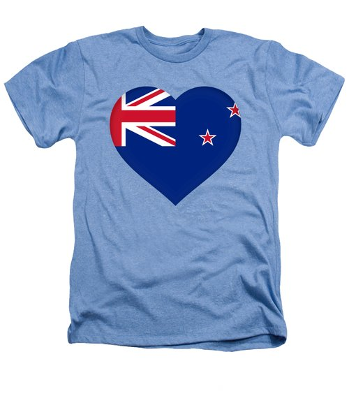 Flag Of New Zealand Heart Heathers T-Shirt