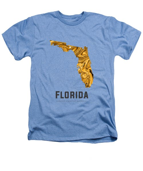 Florida Map Art Abstract In Yellow Gold Heathers T-Shirt