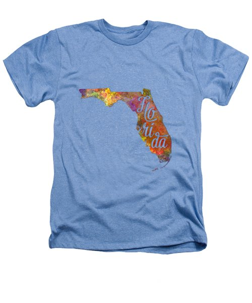 Florida Us State In Watercolor Text Cut Out Heathers T-Shirt by Pablo Romero