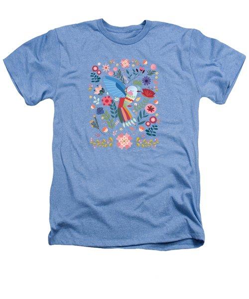 Folk Art Inspired Hummingbird In A Burst Of Springtime Blossoms Heathers T-Shirt