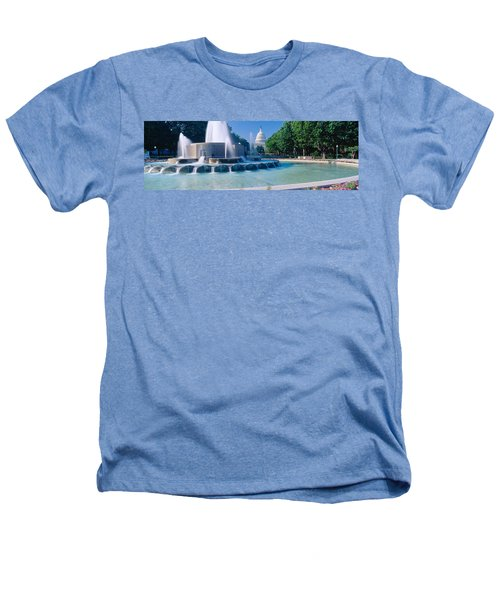 Fountain And Us Capitol Building Heathers T-Shirt by Panoramic Images
