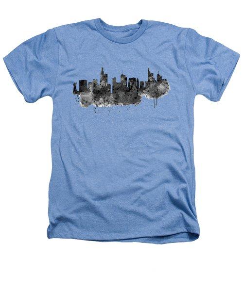 Frankfurt Black And White Skyline Heathers T-Shirt by Marian Voicu