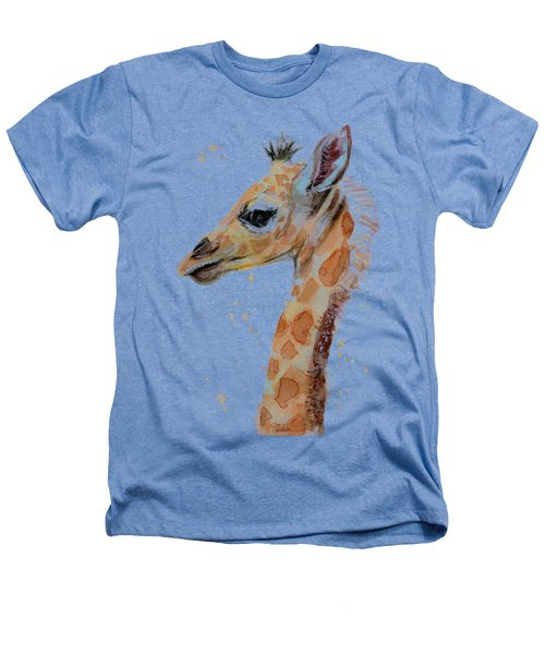 Giraffe Baby Watercolor Heathers T-Shirt